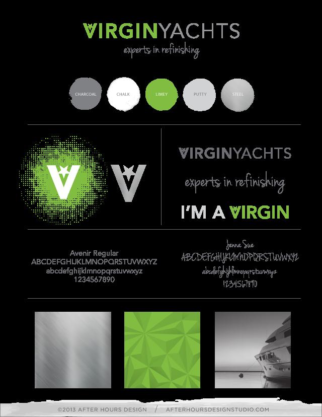 Virgin Yachts Branding Identity Board